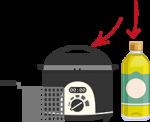 freidora y botella de aceite