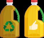 garrafa de aceite limpio y aceite sucio